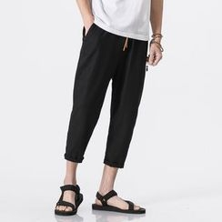 Bay Go Mall - Linen Cropped Straight-Cut Pants
