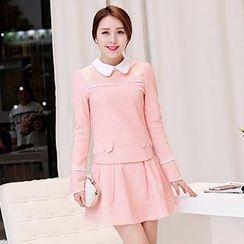 Romantica - Set: Contrast-Collar Check Top + Skirt