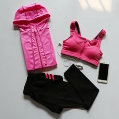 Cara Cloud - Set: Hooded Zip Jacket + Sports Bra + Yoga Pants