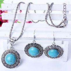 Chidori - 套裝: 寶石項鍊 + 耳環