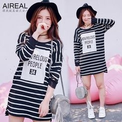 AIREAL - Printed Striped T-Shirt Dress