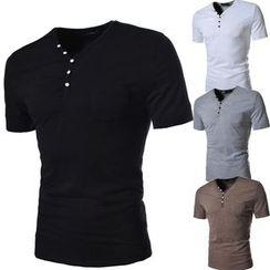 Hansel - Plain V-neck Short-Sleeve T-shirt