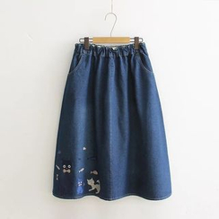 Musume - Embroidered Denim A-Line Skirt