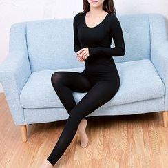 Amizi - Set : Plain Warming Long-Sleeve Top + Pants