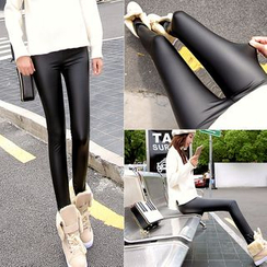 YAYAGREEN - Faux-Leather Leggings