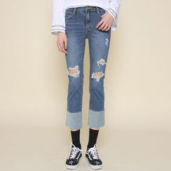 Envy Look - Contrast-Cuff Cropped Jeans