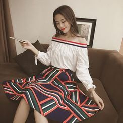 Eva Fashion - Set: Striped Off Shoulder Long Sleeve Top + Printed A-Line Skirt