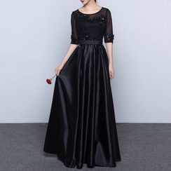 Luxury Style - Elbow-Sleeve Evening Gown
