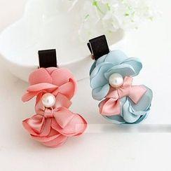 Chapa - Flower-Accent Hair Tie / Hair Clip