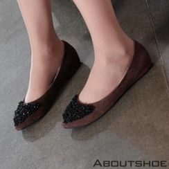 ABOUTSHOE - Fleece-Lined Beads-Detail Flats