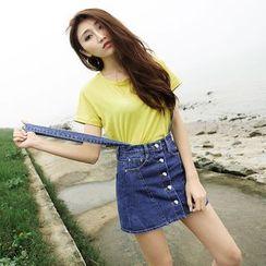 Hola - Denim Suspender Skirt