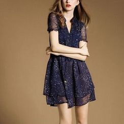 Hazie - Dotted Short-Sleeve Chiffon Dress