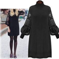 Coronini - Lace Balloon Sleeve Stand Collar Dress