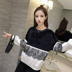CHIH - Lace Panel Colour Block Sweatshirt