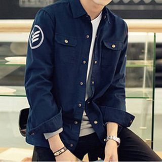 Buy really point printed snap button jacket yesstyle for Mens shirts with snaps instead of buttons