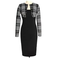 Forest Of Darama - Houndstooth Panel Long Sleeve Midi Dress