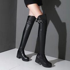 錦洋鞋業 - 粗跟過膝長靴