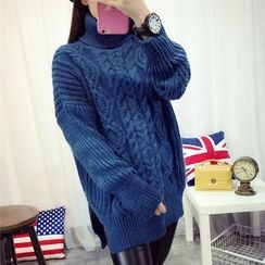 Angel Love - Turtleneck Cable Knit Long Sweater