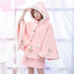 Moriville - Cat Print Hooded Cape