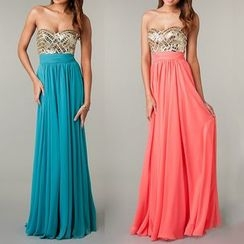 AIXI - Embellished Strapless A-Line Evening Gown