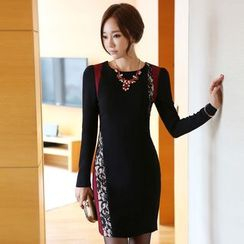 Eleganza - Panel Long Sleeve Sheath Dress