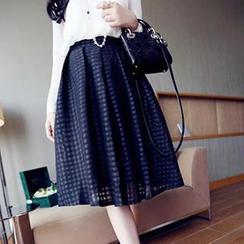 Eva Fashion - Check Organza Pleated Midi Skirt
