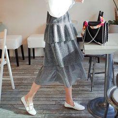 Cherryville - Tiered Glittered A-Line Long Skirt