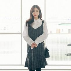 Seoul Fashion - Sleeveless Paid Wool Blend Dress
