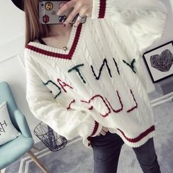 Qimi - Lettering Cable Knit V-Neck Sweater