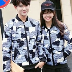 Bay Go Mall - Couple Matching Print Quilted Jacket