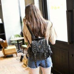 BOLIYASHI - Faux-Leather Studded Backpack