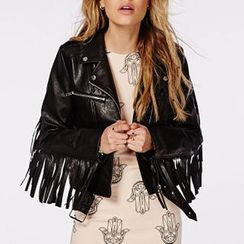 Richcoco - Fringed Faux Leather Biker Jacket