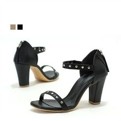 MODELSIS - Genuine Leather Studded Chunky-Heel Sandals