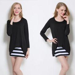 CHIH - 套装: 薄纱雪纺拼接上衣 + 条纹背心裙