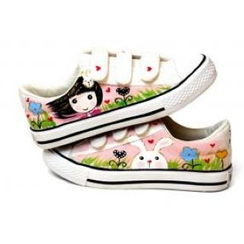 HVBAO - Painted Girl Velcro Canvas Sneakers