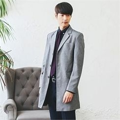 MITOSHOP - Notched-Lapel Single-Breasted Long Jacket