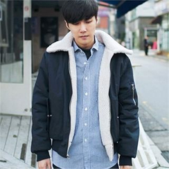 MITOSHOP - Collared Fleece Lined Flight Jacket