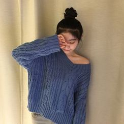Lemon Bliss - Plain V-Neck Cable Knit Sweater