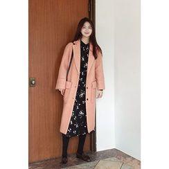 CHERRYKOKO - Notched-Lapel Dual-Pocket Wool Blend Coat