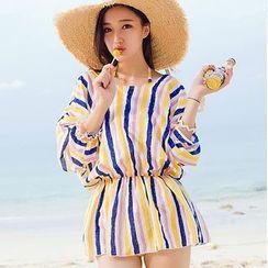 Sweet Splash - 套裝: 細條紋荷葉邊掛脖連體泳衣 + 罩衫