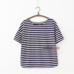 Rosadame - Striped Short Sleeve Bow Back T-Shirt