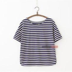 Rosadame - 短袖条纹背后蝴蝶结T恤