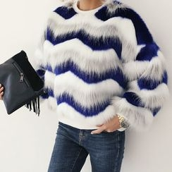 DANI LOVE - Three-Tone Faux-Fur Pullover