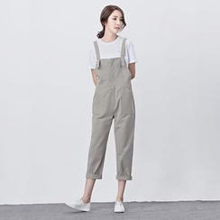 BORAN - Plain Capri Pinafore Jumpsuit