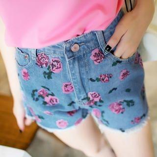 Tokyo Fashion - Fray-Hem Floral Denim Shorts