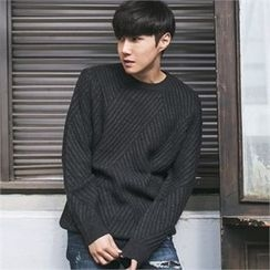MITOSHOP - Crew-Neck Rib-Knit Sweater