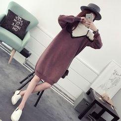 efolin - Lace Trim Two Tone Knit Dress