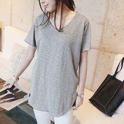 NANING9 - Cotton V-Neck T-Shirt