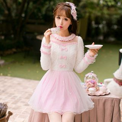 Candy Rain - Lace Panel Ruffle Trim Embellished Long-Sleeve Tulle Dress