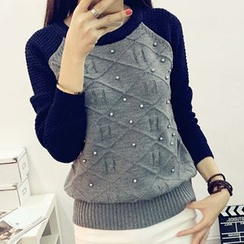 NIZ - Color-Block Beaded Sweater